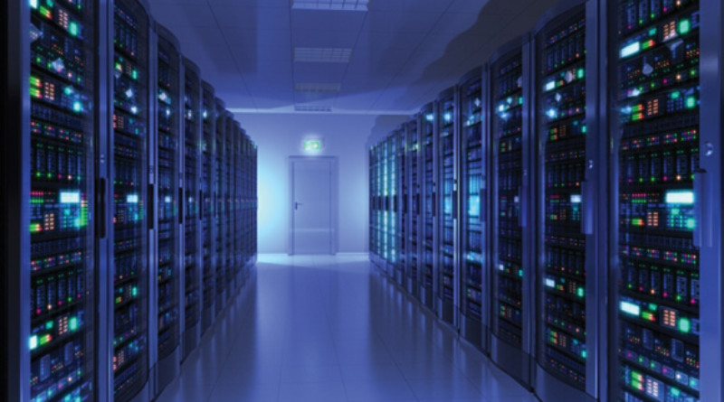 Blue Data Center Room