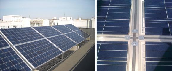 Vedere generala panouri fotovoltaice si detaliu fixare panouri